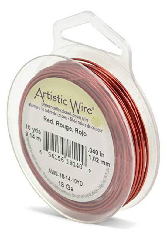 Artistic Wire: 18 gauge, Red