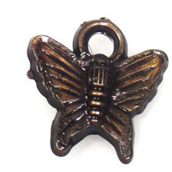Acrylic Charm, butterfly - antique brass