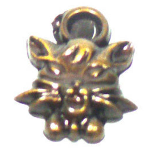 Acrylic Charm, cat face - antique brass