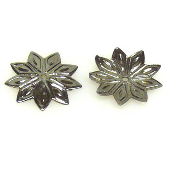 Gunmetal Bead Cap, 12mm, flat flower