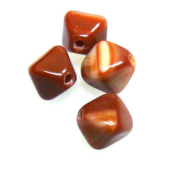 Glass Bicone, 6mm - Brown/Tan opaque