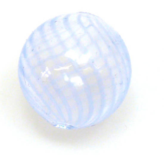 Chinese Blown Glass, Clear Ball with pale blue stripes