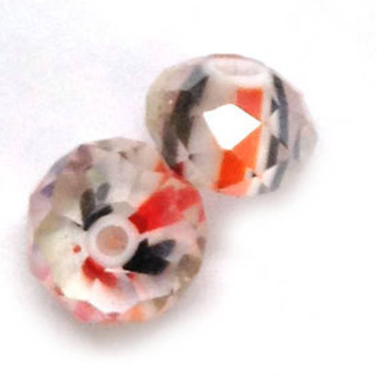 Chinese Lampwork Facet, Red, Black, White fat stripes