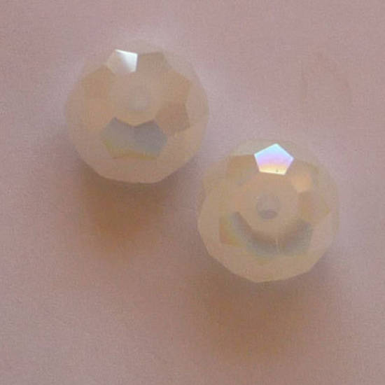 Chinese Crystal, 10mm rhondelle, Chalk White AB