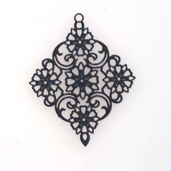 Tin Charm: Black filigree diamond (30 x 38mm)