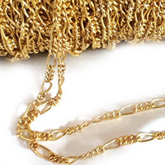 Fine Figaro Chain: Gold (5mm/3mm)