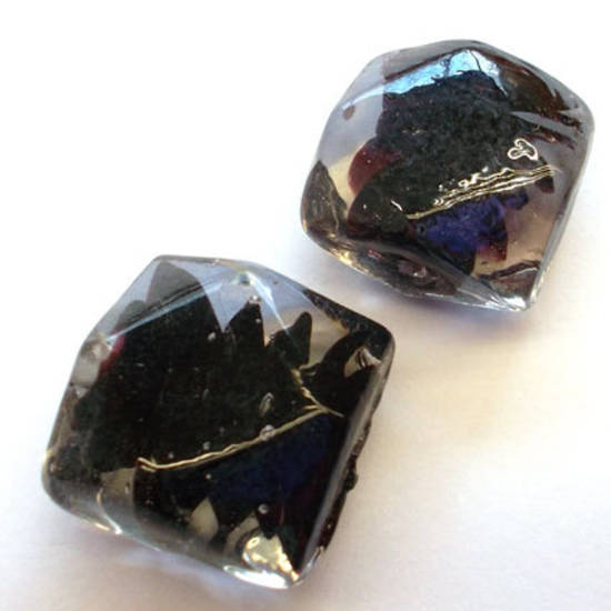 Chinese lampwork, black/clear faceted square