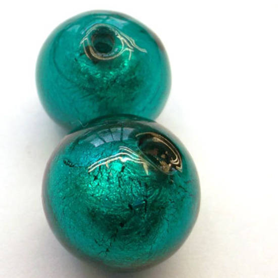 Chinese lampwork ball, indicolite with silver foil