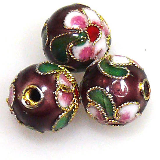 Cloisonne Bead, 10mm round, Purple with floral decoration