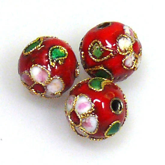 Cloisonne Bead, 10mm round, Red with floral decoration