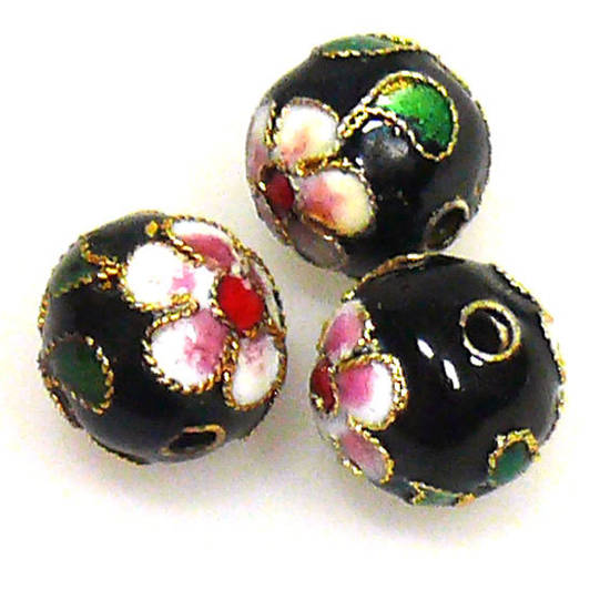 Cloisonne Bead, 10mm round, Black with floral decoration