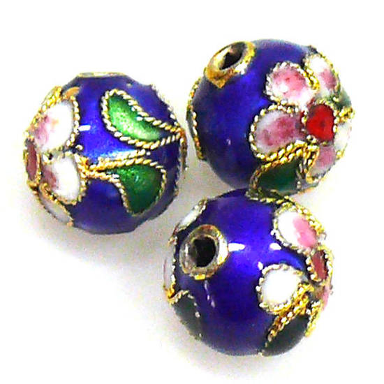 Cloisonne Bead, 10mm round, Blue with floral decoration