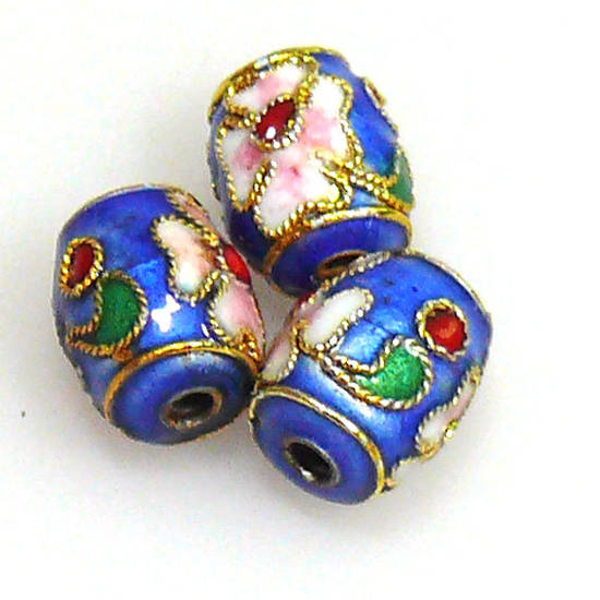 Cloisonne Bead, small barrel, 10mm x 8mm, Blue with floral decoration
