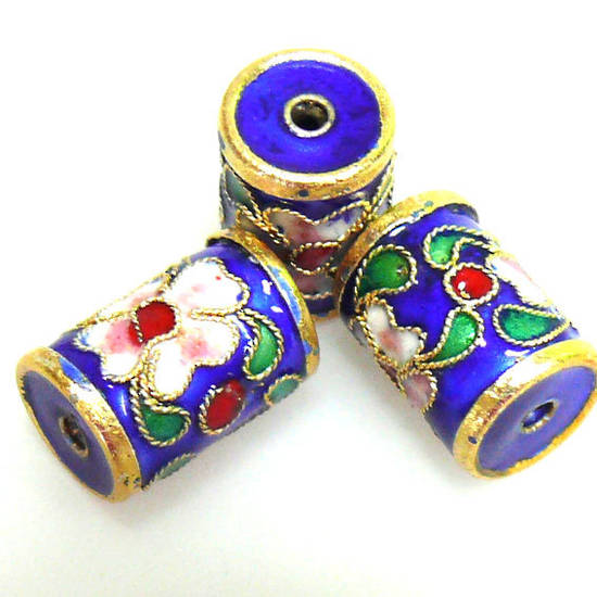 Cloisonne Bead, Barrel 14mm x 10mm. Blue with floral decoration.