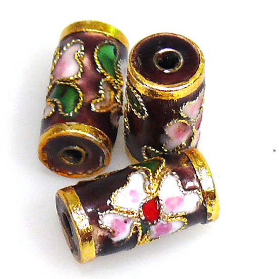 Cloisonne Bead, Barrel 14mm x 8mm. Purple with floral decoration.