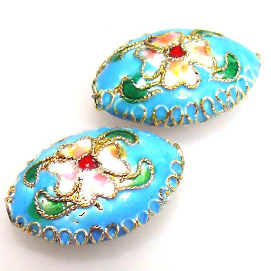 Cloisonne Bead, cushion oval 15mm x 20mm. Aqua with floral decoration.