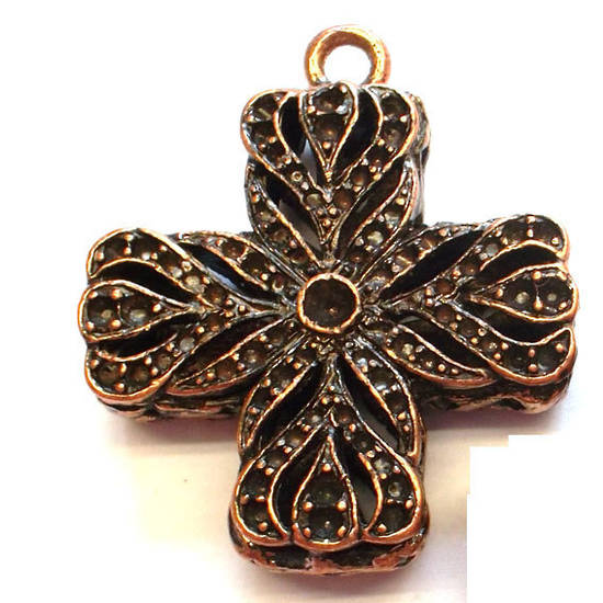 Metal Charm: Large filigree cross - copper