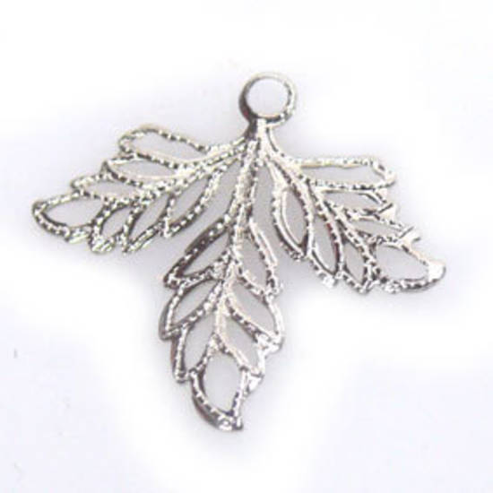 Metal Charm: Filigree autumn leaf - silver