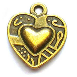 Metal Charm, brass heart