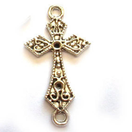 Metal Charm: Celtic double loop cross - silver
