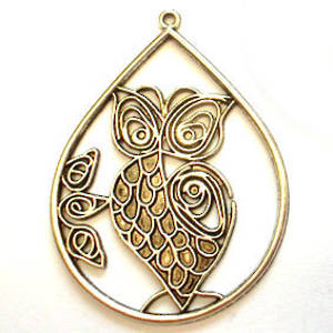 Metal Charm, Large Filigree Owl in surround