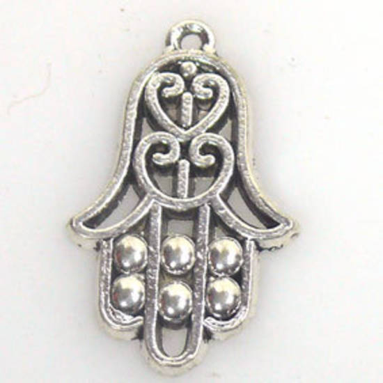 Metal Charm: Indy hand - antique silver