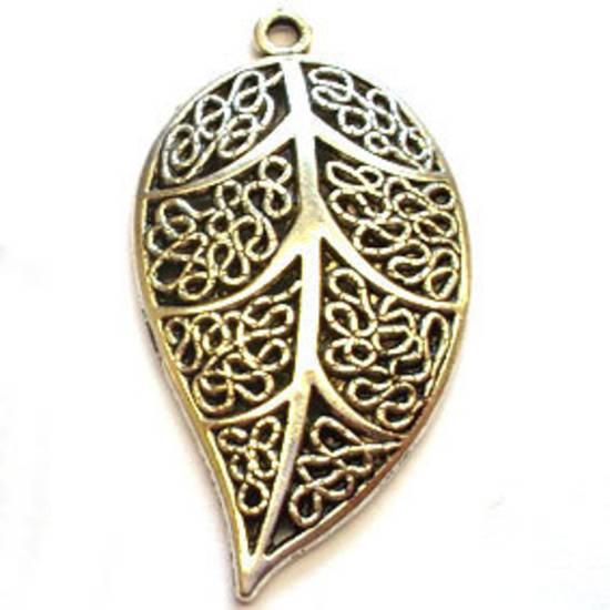 Metal Charm: Filigree Leaf - antique silver