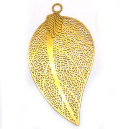 Metal Leaf: Large thin filigree - brass