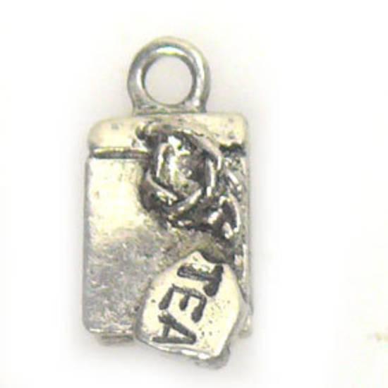 Metal Charm: 'Tea' Label - antique silver