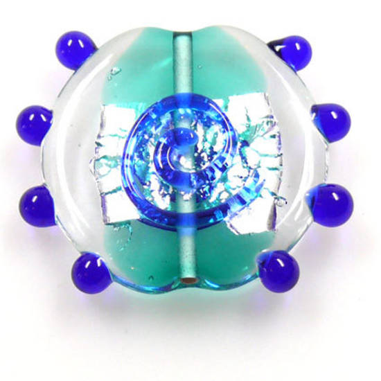 Czech Lampwork, Flat Disc, Teal and Blue