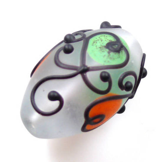 Czech Lampwork, opaque oval, green, orange and black decoration