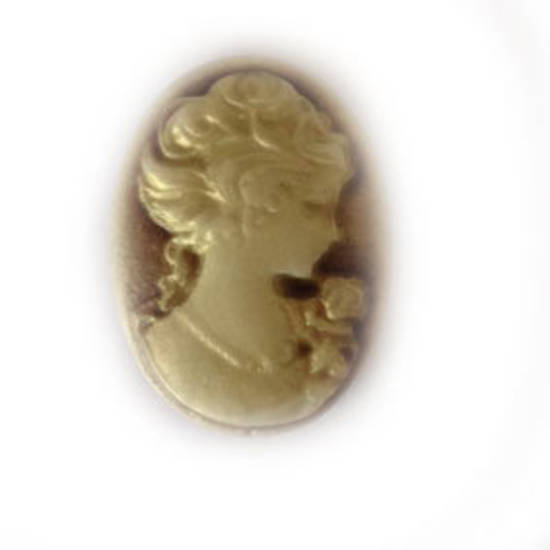 Cameo Cabochon: Brown and ivory oval 18x24mm, classical style female head