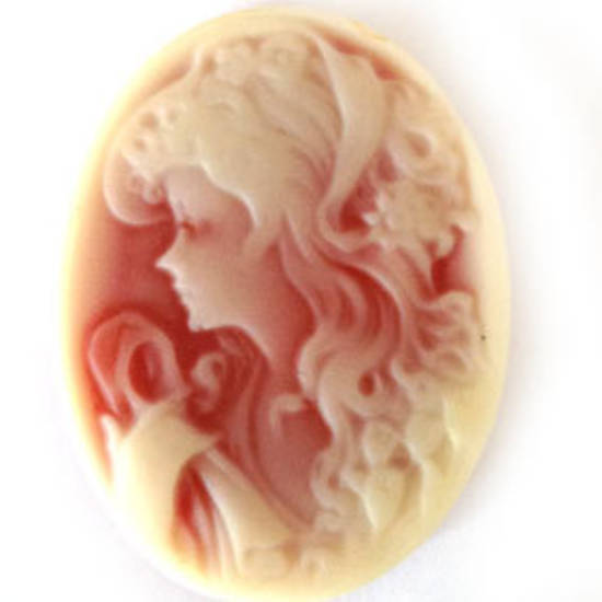 Cameo Cabochon: Terracotta and cream oval 28x38mm, modern female head.