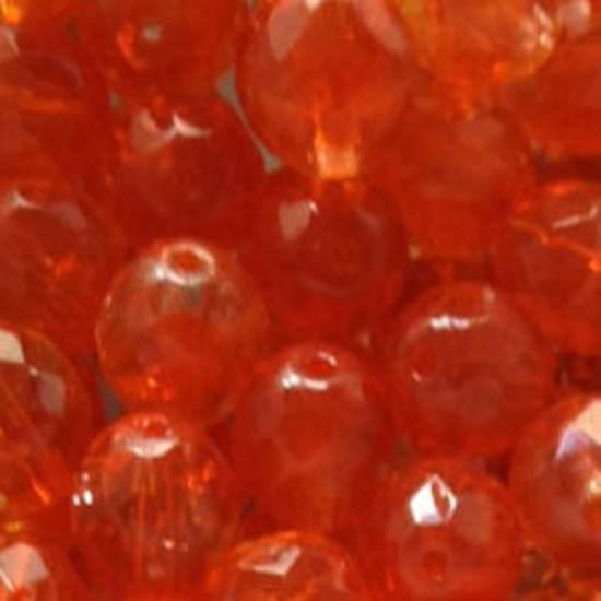 Czech Firepolished Facet: 10mm - Orange/Clear