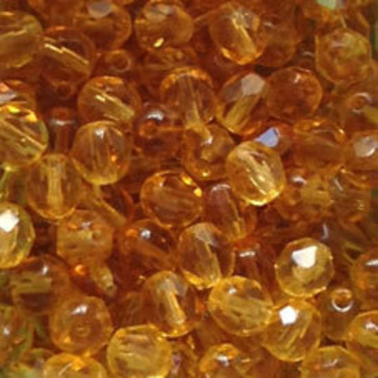 Czech Firepolished Facet: 6mm - Amber