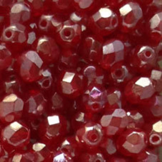 Czech Firepolished Facet: 6mm - Ruby Luster