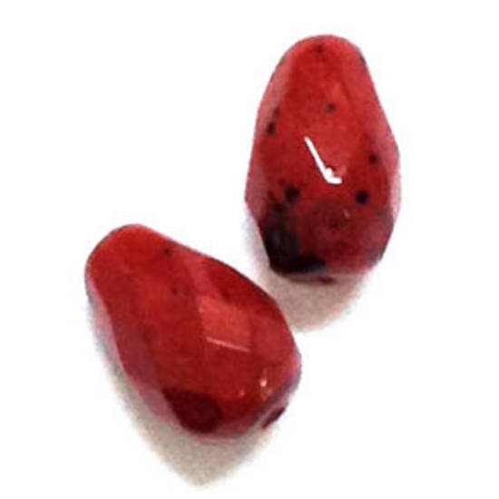 10mm coated facet drop - Deep Red speckles