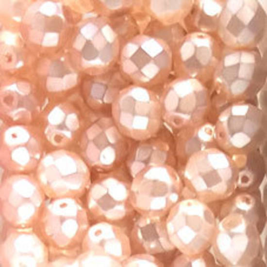 Czech Firepolished Facet: 8mm - Satin Very Light Pink (coated)