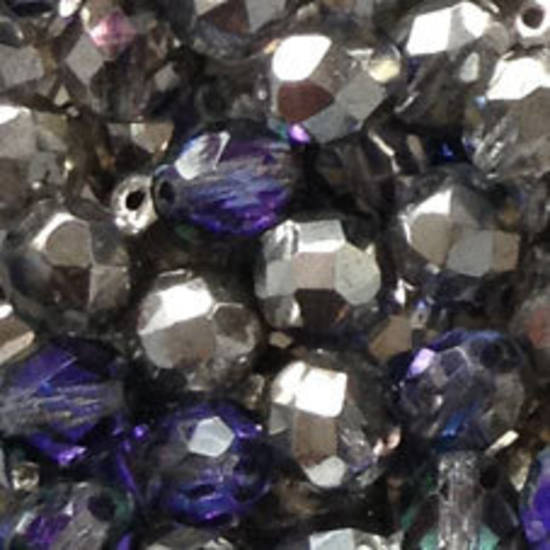 Czech Firepolished Facet: 8mm - Purple Vitrail, silvered