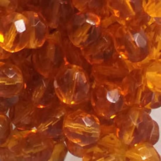 Czech Firepolished Facet: 8mm - Amber