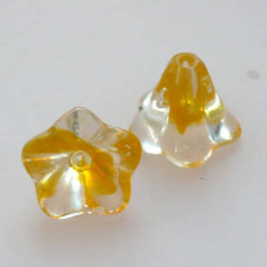 NEW! Trumpet Flower, 12mm - Yellow/transparent mix