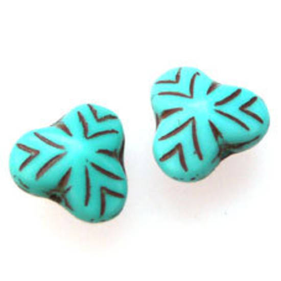 NEW! Fine Tri Flower, 9mm - Turquoise opaque, brown lines