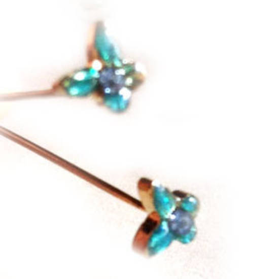 Diamante Headpin - aqua butterfly