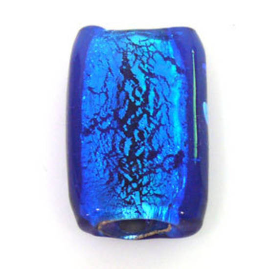 Indian Lampwork, large feature foil, capri blue flat rectangle