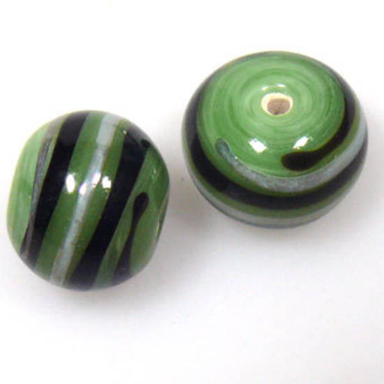 Indian Lampwork, round, opaque green with black and silvery grey lines