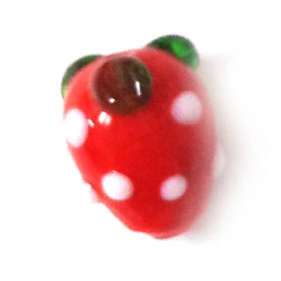 Chinese lampwork, red strawberry