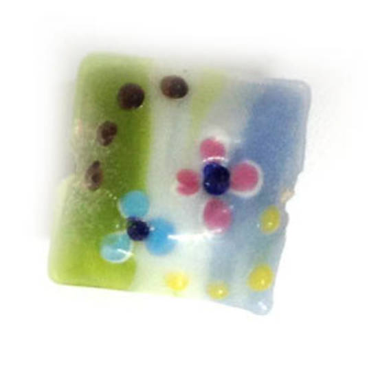 Chinese lampwork square cushion, green/white/blue  with pink flowers