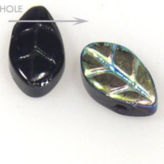 Glass Fine Curved Leaf,6mm x 10mm - Jet AB