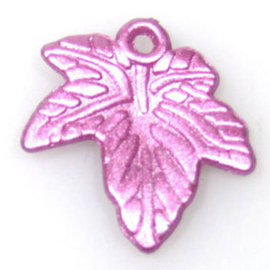 Acrylic Autumn Leaf, 20mm - Metallic pink