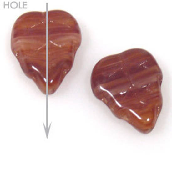 Glass Triangle Leaf, 10mm x 12mm - Red/Brown multi